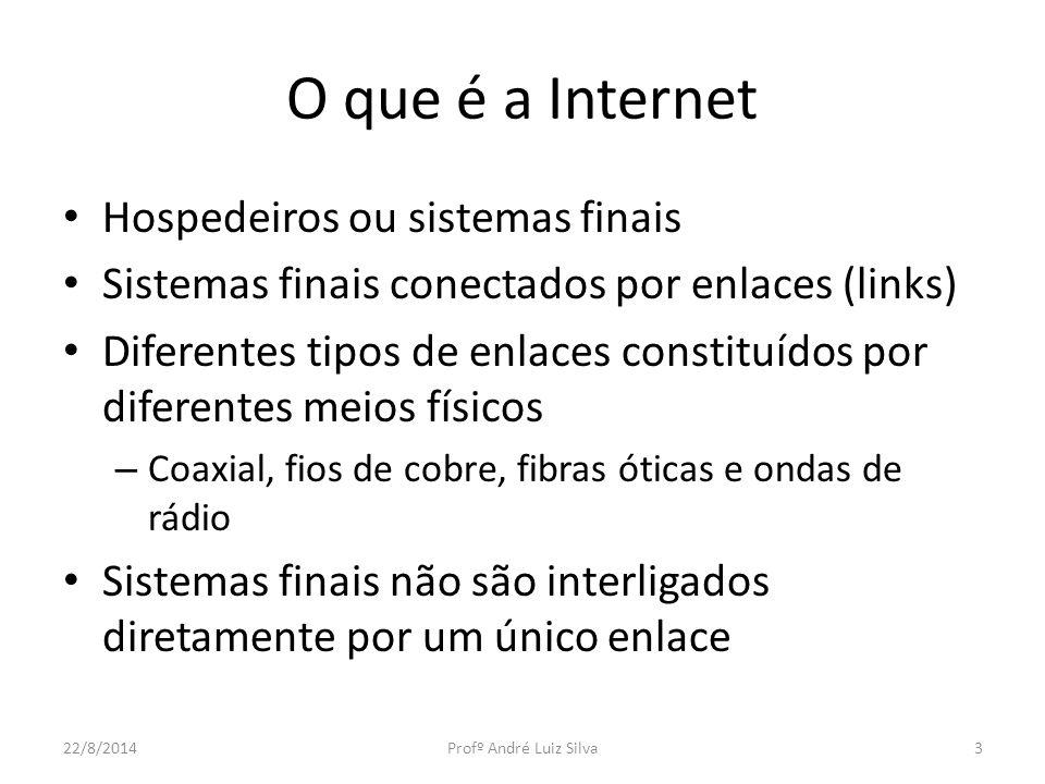 O que é a Internet Hospedeiros ou sistemas finais Sistemas finais conectados por enlaces (links) Diferentes tipos de enlaces constituídos por diferent