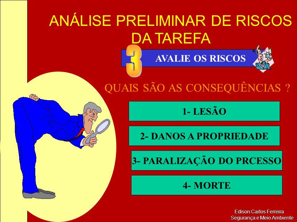 ANÁLISE PRELIMINAR DE RISCOS DA TAREFA Edison Carlos Ferreira Segurança e Meio Ambiente Edison Carlos Ferreira Segurança e Meio Ambiente AVALIE OS RIS
