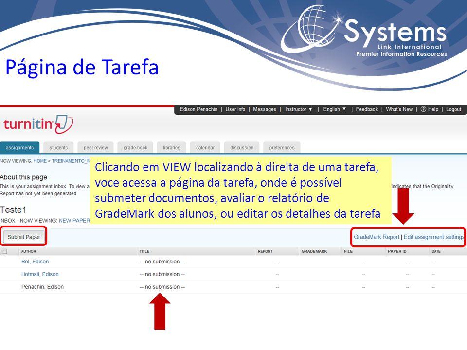 Página de Tarefa Clicando em VIEW localizando à direita de uma tarefa, voce acessa a página da tarefa, onde é possível submeter documentos, avaliar o relatório de GradeMark dos alunos, ou editar os detalhes da tarefa