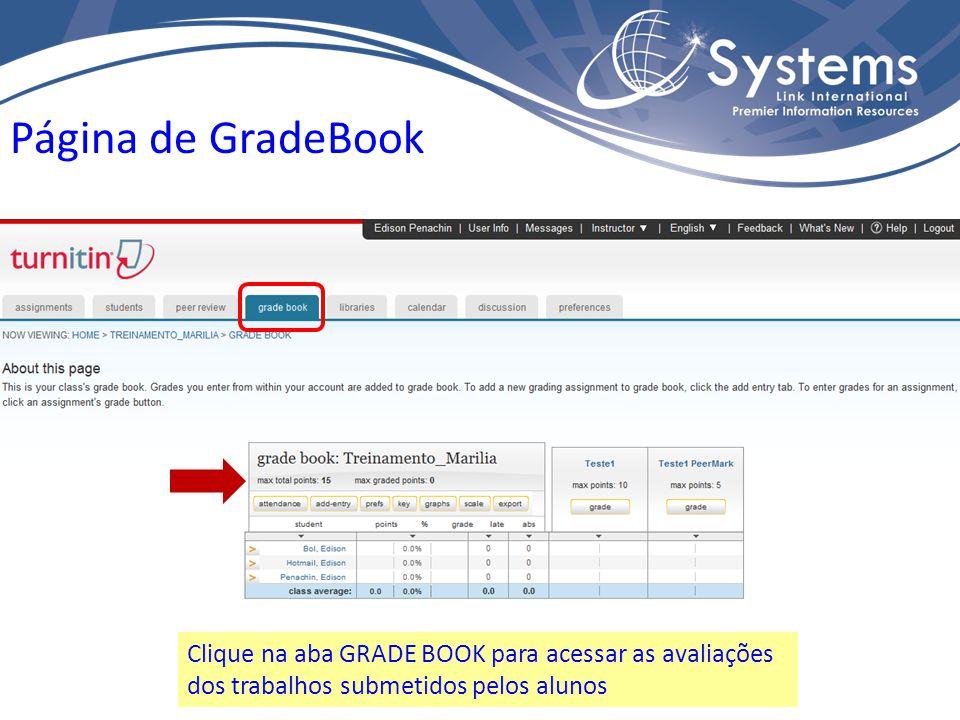 Página de GradeBook Clique na aba GRADE BOOK para acessar as avaliações dos trabalhos submetidos pelos alunos