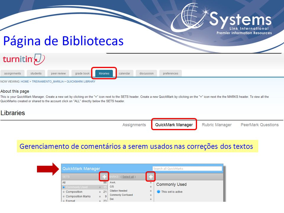 Página de Bibliotecas Gerenciamento de comentários a serem usados nas correções dos textos