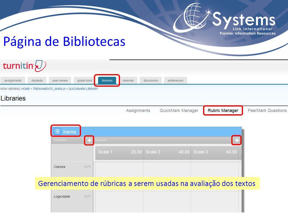 Página de Bibliotecas Gerenciamento de rúbricas a serem usadas na avaliação dos textos
