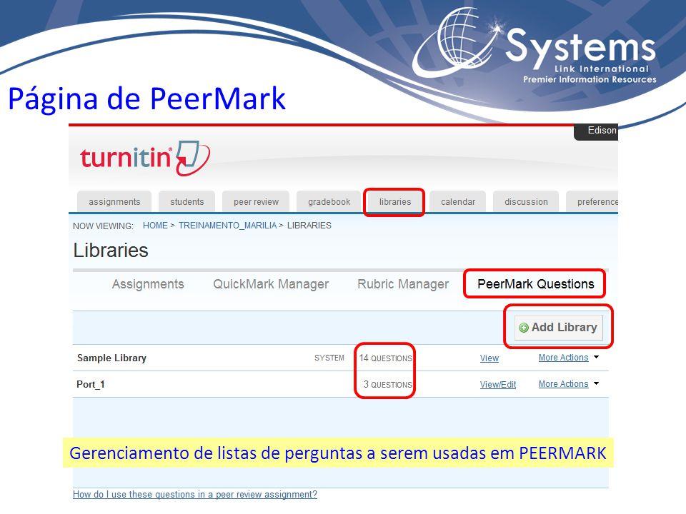 Página de PeerMark Gerenciamento de listas de perguntas a serem usadas em PEERMARK