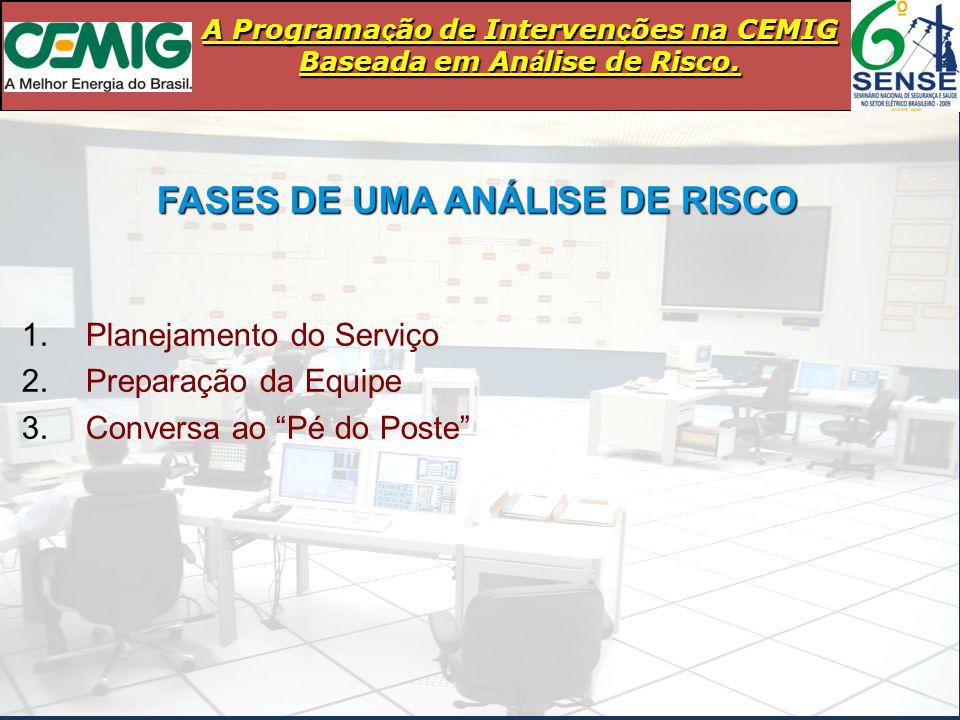 """FASES DE UMA ANÁLISE DE RISCO 1.Planejamento do Serviço 2.Preparação da Equipe 3.Conversa ao """"Pé do Poste"""""""