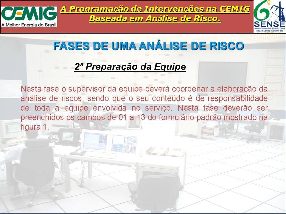 FASES DE UMA ANÁLISE DE RISCO 2ª Preparação da Equipe Nesta fase o supervisor da equipe deverá coordenar a elaboração da análise de riscos, sendo que