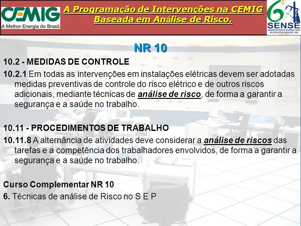 A Programa ç ão de Interven ç ões na CEMIG Baseada em An á lise de Risco. NR 10 10.2 - MEDIDAS DE CONTROLE 10.2.1 Em todas as intervenções em instalaç