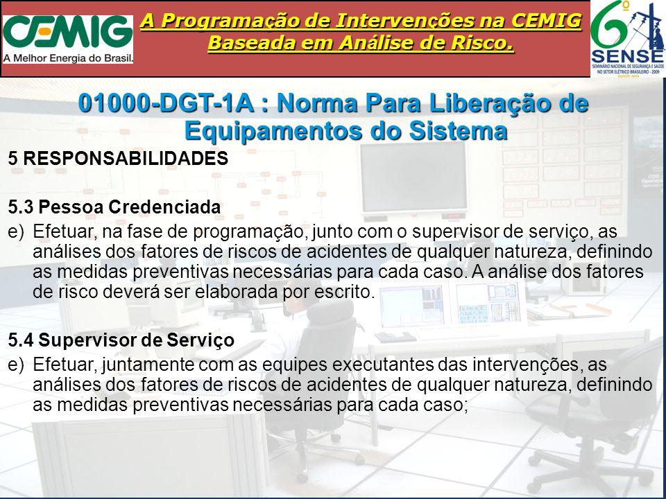 A Programa ç ão de Interven ç ões na CEMIG Baseada em An á lise de Risco. 01000-DGT-1A : Norma Para Liberação de Equipamentos do Sistema 5 RESPONSABIL
