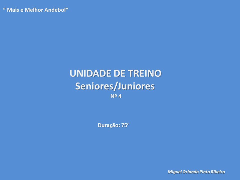 """UNIDADE DE TREINO Seniores/Juniores Nº 4 """" Mais e Melhor Andebol"""" Miguel Orlando Pinto Ribeiro Duração: 75'"""