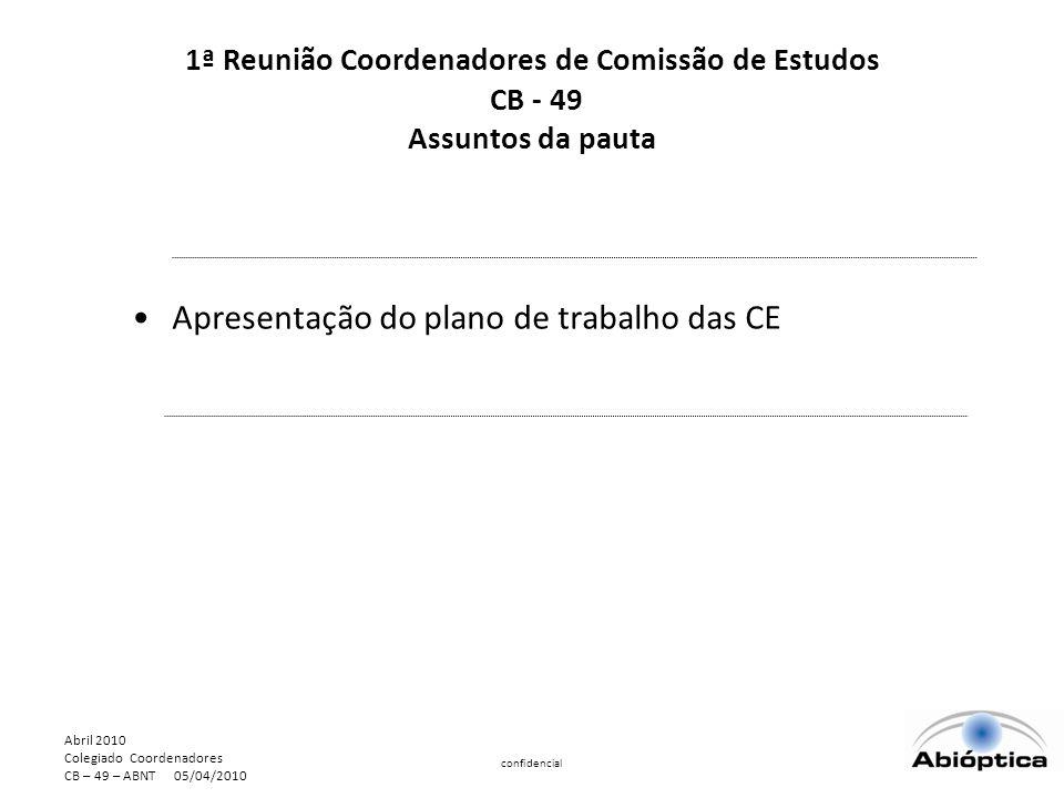 Abril 2010 Colegiado Coordenadores CB – 49 – ABNT 05/04/2010 confidencial Apresentação do plano de trabalho das CE 1ª Reunião Coordenadores de Comissão de Estudos CB - 49 Assuntos da pauta