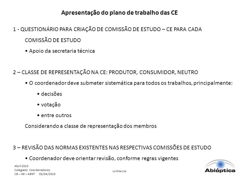 Abril 2010 Colegiado Coordenadores CB – 49 – ABNT 05/04/2010 confidencial Apresentação do plano de trabalho das CE 1 - QUESTIONÁRIO PARA CRIAÇÃO DE COMISSÃO DE ESTUDO – CE PARA CADA COMISSÃO DE ESTUDO Apoio da secretaria técnica 2 – CLASSE DE REPRESENTAÇÃO NA CE: PRODUTOR, CONSUMIDOR, NEUTRO O coordenador deve submeter sistemática para todos os trabalhos, principalmente: decisões votação entre outros Considerando a classe de representação dos membros 3 – REVISÃO DAS NORMAS EXISTENTES NAS RESPECTIVAS COMISSÕES DE ESTUDO Coordenador deve orientar revisão, conforme regras vigentes