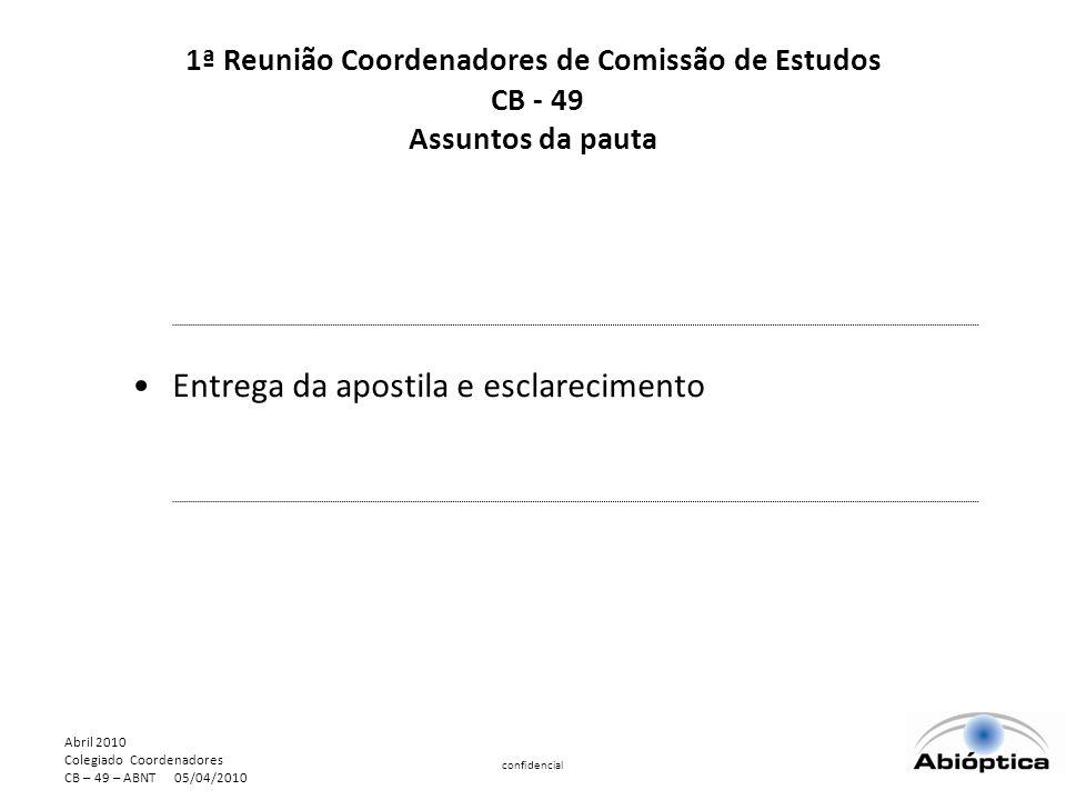 Abril 2010 Colegiado Coordenadores CB – 49 – ABNT 05/04/2010 confidencial Entrega da apostila e esclarecimento 1ª Reunião Coordenadores de Comissão de Estudos CB - 49 Assuntos da pauta