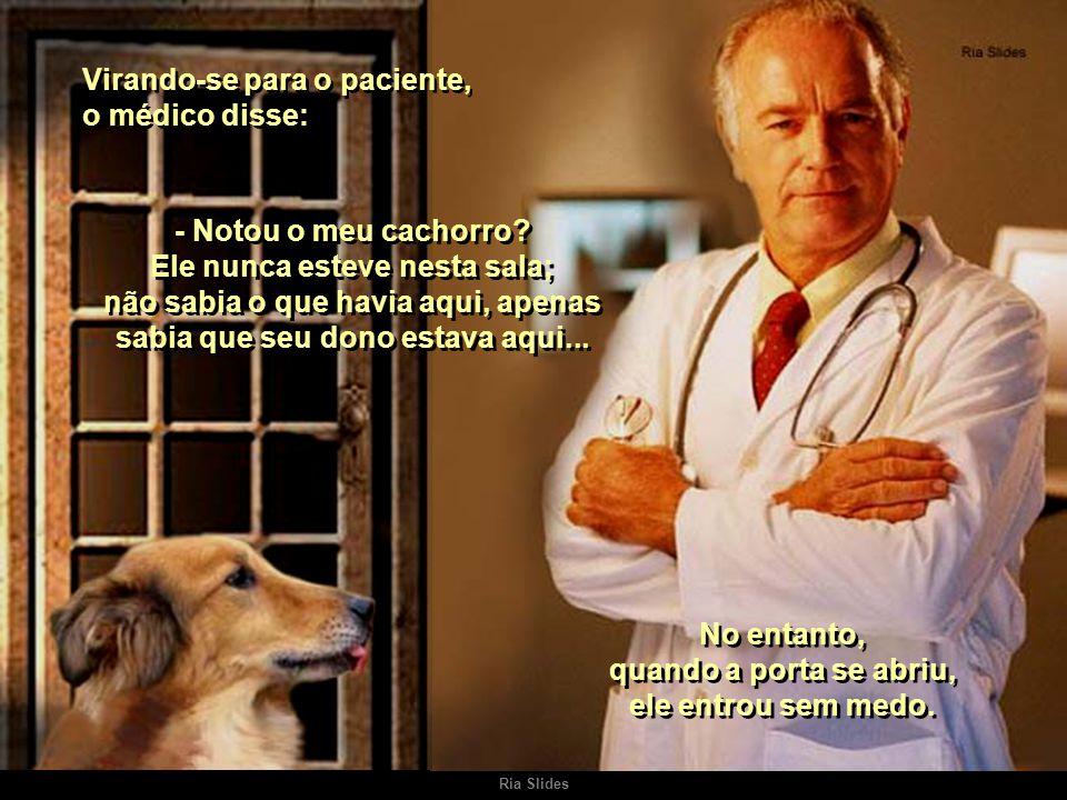 Ria Slides Virando-se para o paciente, o médico disse: - Notou o meu cachorro.