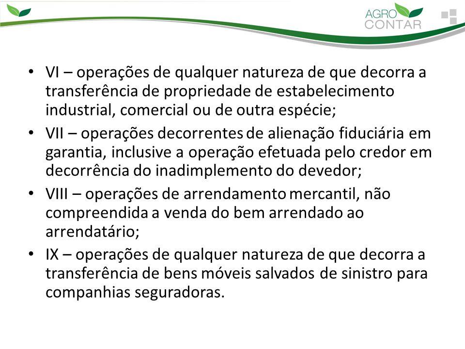 VI – operações de qualquer natureza de que decorra a transferência de propriedade de estabelecimento industrial, comercial ou de outra espécie; VII –