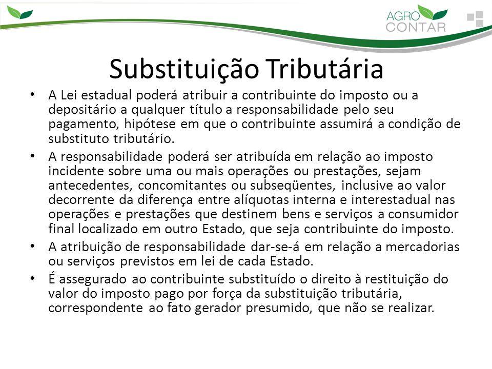 Substituição Tributária A Lei estadual poderá atribuir a contribuinte do imposto ou a depositário a qualquer título a responsabilidade pelo seu pagame