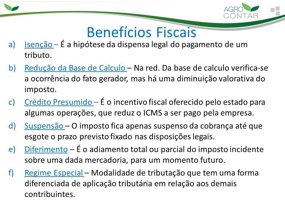Benefícios Fiscais a)Isenção – É a hipótese da dispensa legal do pagamento de um tributo. b)Redução da Base de Calculo – Na red. Da base de calculo ve