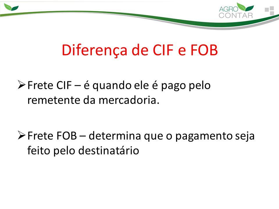 Diferença de CIF e FOB  Frete CIF – é quando ele é pago pelo remetente da mercadoria.  Frete FOB – determina que o pagamento seja feito pelo destina