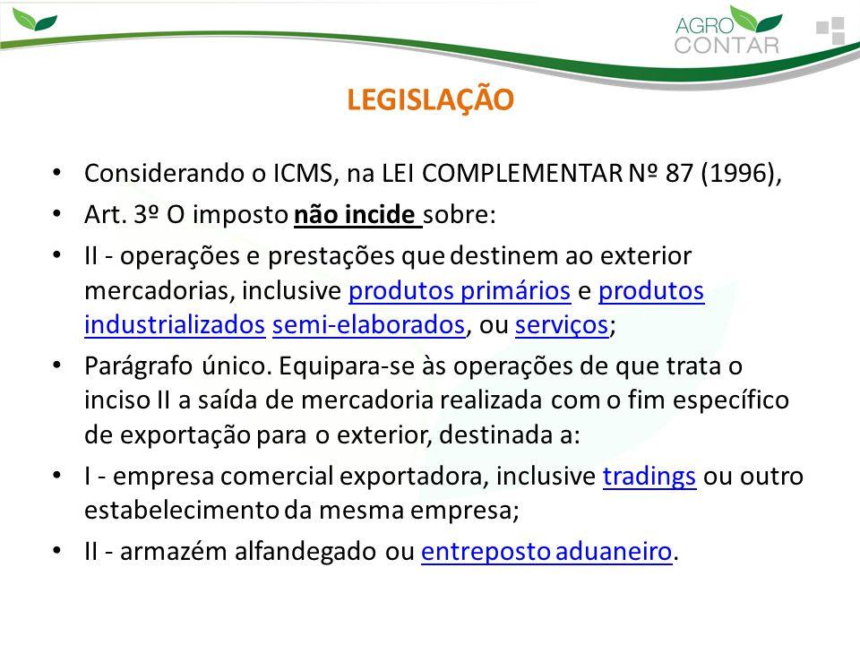 LEGISLAÇÃO Considerando o ICMS, na LEI COMPLEMENTAR Nº 87 (1996), Art. 3º O imposto não incide sobre: II - operações e prestações que destinem ao exte