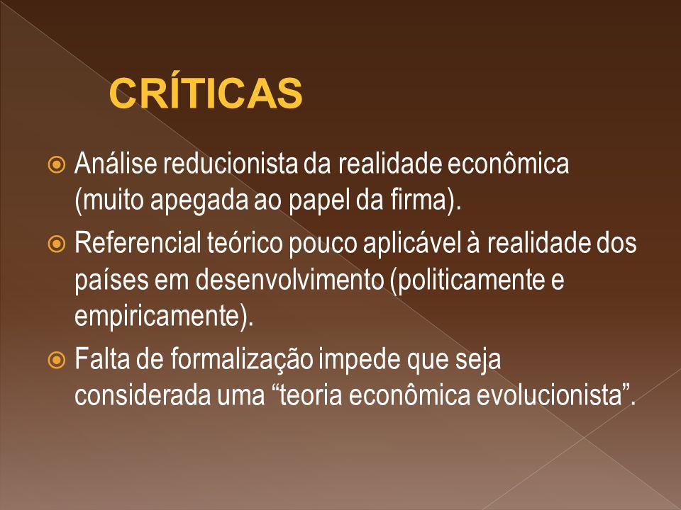  Análise reducionista da realidade econômica (muito apegada ao papel da firma).  Referencial teórico pouco aplicável à realidade dos países em desen