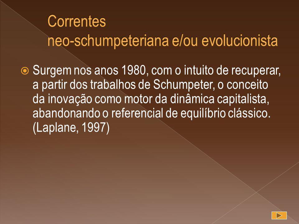 Surgem nos anos 1980, com o intuito de recuperar, a partir dos trabalhos de Schumpeter, o conceito da inovação como motor da dinâmica capitalista, a