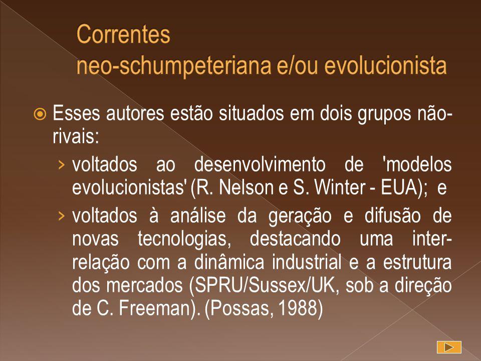  Esses autores estão situados em dois grupos não- rivais: › voltados ao desenvolvimento de 'modelos evolucionistas' (R. Nelson e S. Winter - EUA); e