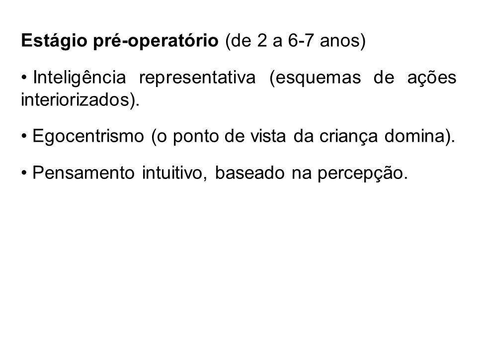 Estágio pré-operatório (de 2 a 6-7 anos) Inteligência representativa (esquemas de ações interiorizados). Egocentrismo (o ponto de vista da criança dom