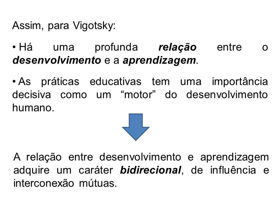 """Assim, para Vigotsky: Há uma profunda relação entre o desenvolvimento e a aprendizagem. As práticas educativas tem uma importância decisiva como um """"m"""
