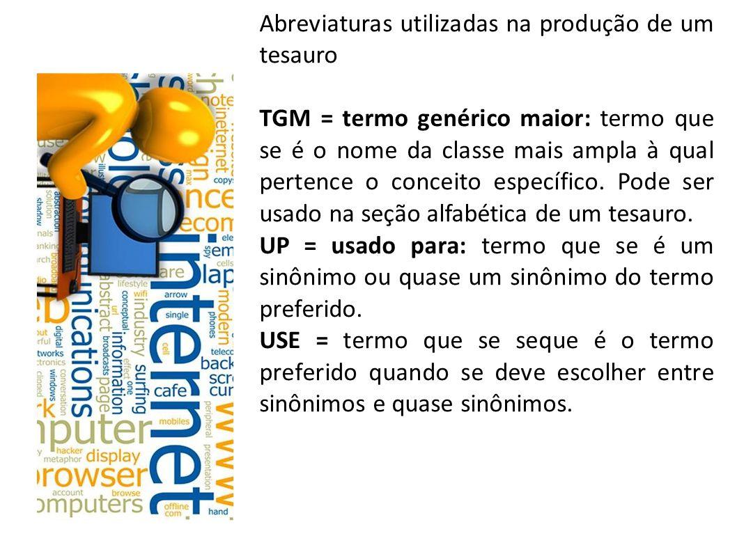 Abreviaturas utilizadas na produção de um tesauro TGM = termo genérico maior: termo que se é o nome da classe mais ampla à qual pertence o conceito específico.