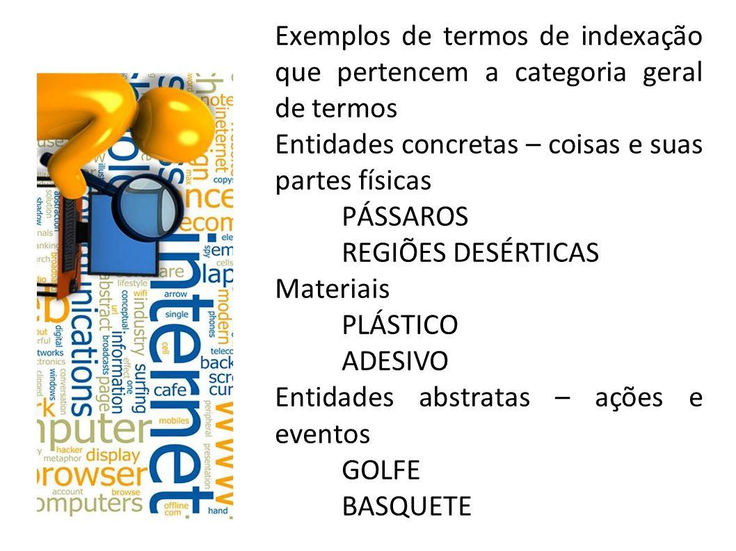 Exemplos de termos de indexação que pertencem a categoria geral de termos Entidades concretas – coisas e suas partes físicas PÁSSAROS REGIÕES DESÉRTICAS Materiais PLÁSTICO ADESIVO Entidades abstratas – ações e eventos GOLFE BASQUETE