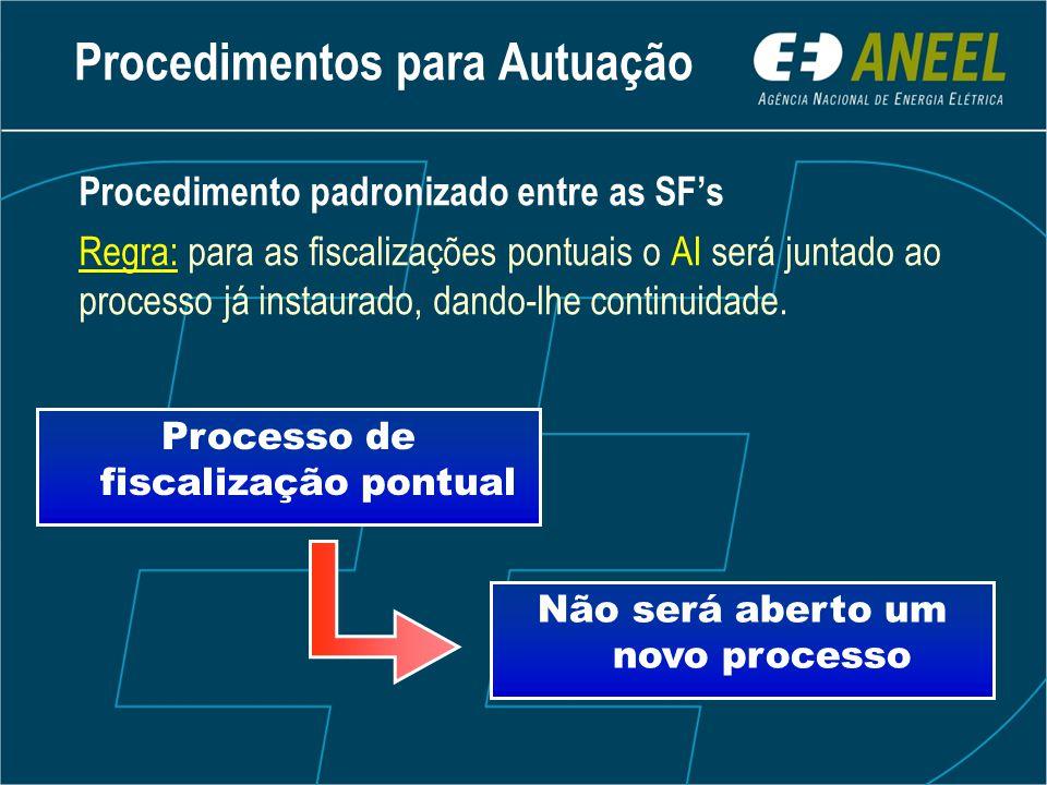 Procedimento padronizado entre as SF's Regra: para as fiscalizações pontuais o AI será juntado ao processo já instaurado, dando-lhe continuidade.