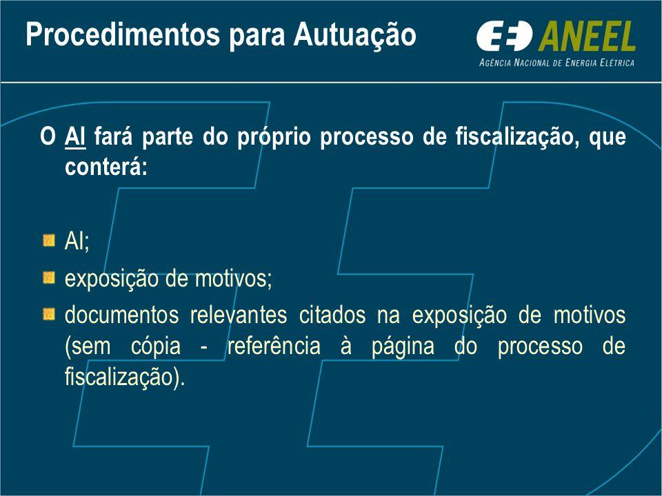 O AI fará parte do próprio processo de fiscalização, que conterá: AI; exposição de motivos; documentos relevantes citados na exposição de motivos (sem cópia - referência à página do processo de fiscalização).