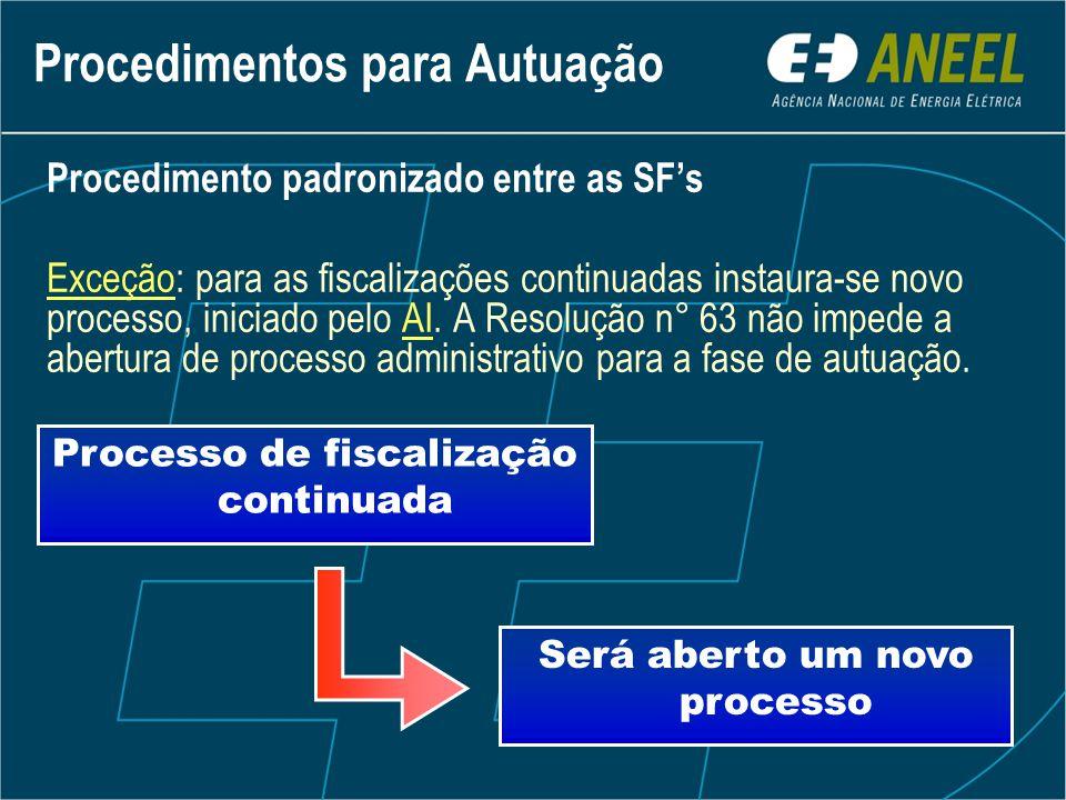 Procedimento padronizado entre as SF's Exceção: para as fiscalizações continuadas instaura-se novo processo, iniciado pelo AI.