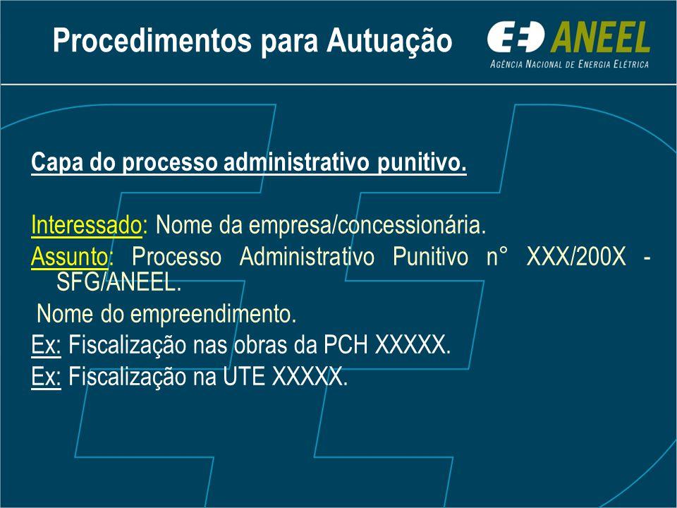 Capa do processo administrativo punitivo. Interessado: Nome da empresa/concessionária.