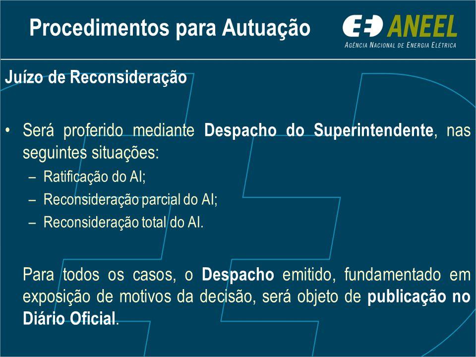 Juízo de Reconsideração Será proferido mediante Despacho do Superintendente, nas seguintes situações: –Ratificação do AI; –Reconsideração parcial do AI; –Reconsideração total do AI.