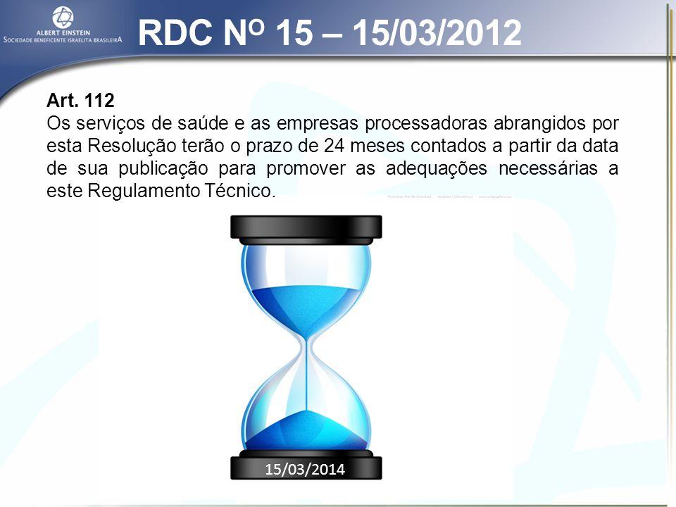RDC N O 15 – 15/03/2012 Seção III – Dos equipamentos Art.