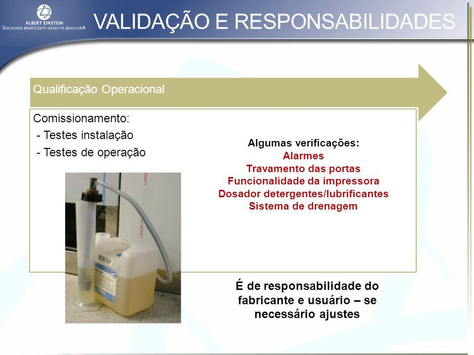 VALIDAÇÃO E RESPONSABILIDADES Qualificacão de Instalação Revisão da especificação de compra Lavadoras Documentação que evidencia se o equipamento foi instalado de acordo com as especificações.