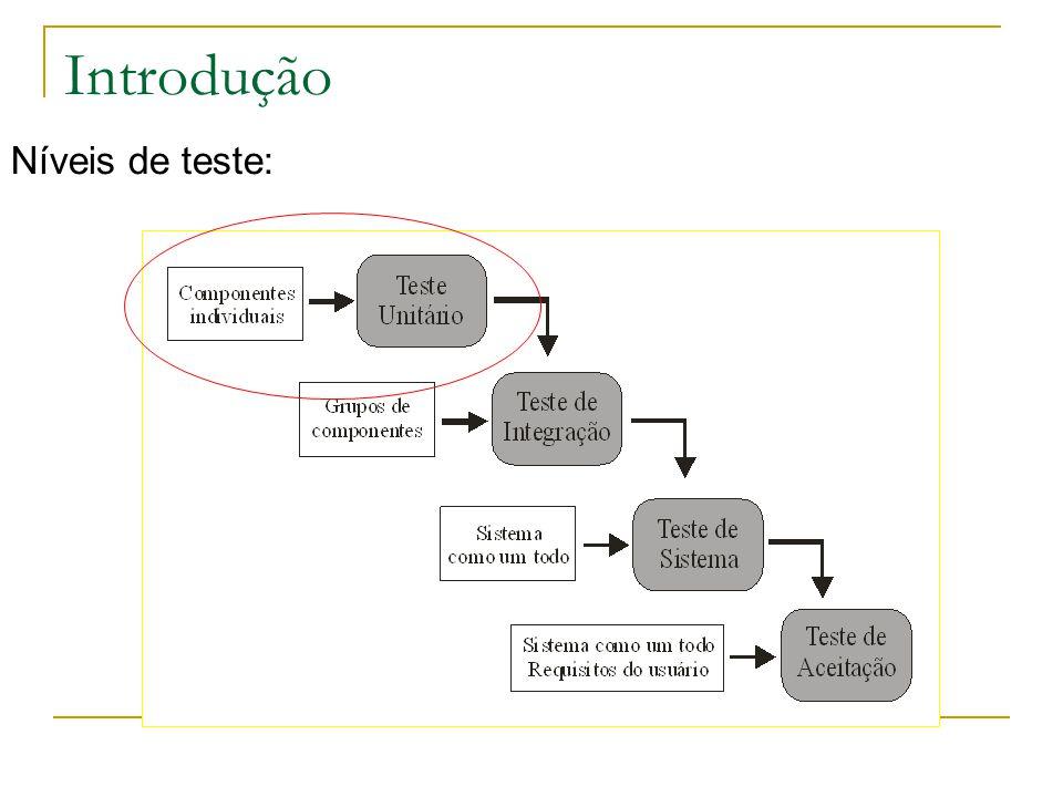 Solução import junit.framework.TestCase; public class testValores extends TestCase { private Valores val; protected void setUp() throws Exception { super.setUp(); val = new Valores(); val.ins(5); val.ins(12); val.ins(1); val.ins(30); val.ins(152); val.ins(6); } public void testIns() { assertEquals(false,val.ins(-10)); assertEquals(false,val.ins(0)); val.ins(2); assertEquals(7,val.size()); val.ins(3); assertEquals(8,val.size()); val.ins(4); assertEquals(9,val.size()); val.ins(5); assertEquals(10,val.size()); assertEquals(false,val.ins(11)); } public void testDel() { assertEquals(5,val.del(0)); assertEquals(6,val.del(4)); assertEquals(-1,val.del(4)); assertEquals(1,val.del(1)); assertEquals(12,val.del(0)); assertEquals(30,val.del(0)); assertEquals(152,val.del(0)); assertEquals(-1,val.del(0)); } public void testMean() { assertTrue(Math.round(34.3) == Math.round(val.mean())); assertTrue(Math.round(0.0) == Math.round((new Valores()).mean())); } public void testGreater() { assertEquals(152,val.greater()); assertEquals(-1,(new Valores()).greater()); } public void testLower() { assertEquals(1,val.lower()); assertEquals(-1,(new Valores()).lower()); }