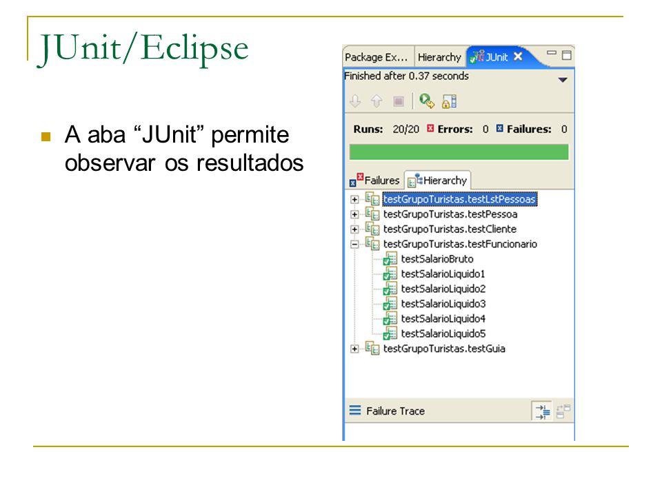 "JUnit/Eclipse A aba ""JUnit"" permite observar os resultados"