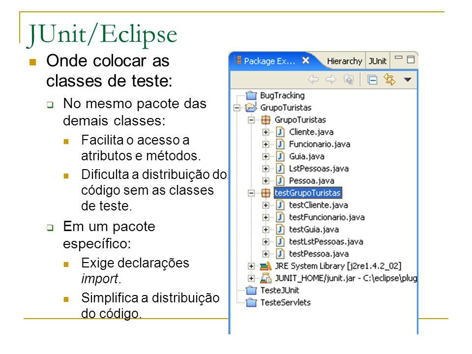 JUnit/Eclipse Onde colocar as classes de teste:  No mesmo pacote das demais classes: Facilita o acesso a atributos e métodos. Dificulta a distribuiçã