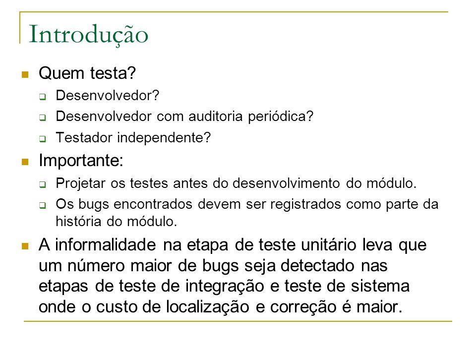 Introdução Entradas para o teste unitário:  Especificação do módulo antes da implementação do mesmo: Desenvolvimento de casos de teste usando técnicas funcionais.