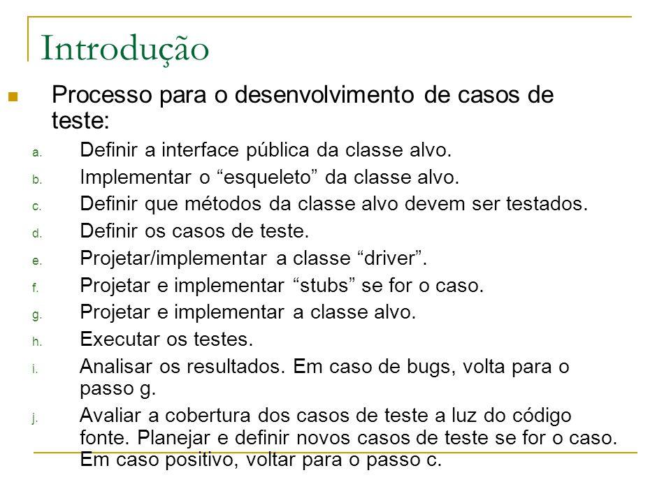 Teste unitário public class VetorOrdenadoDriver{ public static void testa(){ int erro = 0; VetorOrdenado aux=new VetorOrdenado(3); if (aux.getTMax() != 3) erro = 1; if (aux.ins(2) != true) erro = 2; if (aux.ins(3) != true) erro = 3; if (aux.ins(1) != true) erro = 4; if (aux.getNroElem() != 3) erro = 5; if (aux.getMin() != 1) erro = 6; if (aux.getMax() != 3) erro = 7; if (erro == 0){ System.out.println( Vetor s/erros! ); }else System.out.println( Vetor c/erro nro: +erro); } VetorOrdenado public VetorOrdenado(int tam) public boolean ins(int v) public int getMax() public int getMin() public int getNroElem() public int getTMax() public int get(int i) public void ordena()