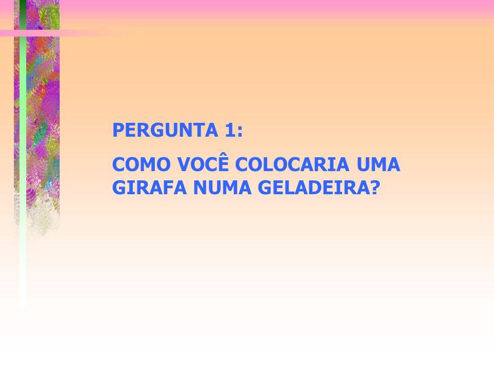 PERGUNTA 1: COMO VOCÊ COLOCARIA UMA GIRAFA NUMA GELADEIRA?