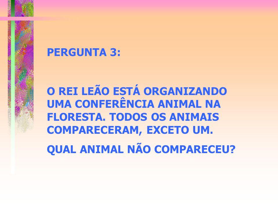 PERGUNTA 3: O REI LEÃO ESTÁ ORGANIZANDO UMA CONFERÊNCIA ANIMAL NA FLORESTA. TODOS OS ANIMAIS COMPARECERAM, EXCETO UM. QUAL ANIMAL NÃO COMPARECEU?