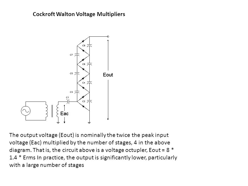 The output voltage (Eout) is nominally the twice the peak input voltage (Eac) multiplied by the number of stages, 4 in the above diagram.