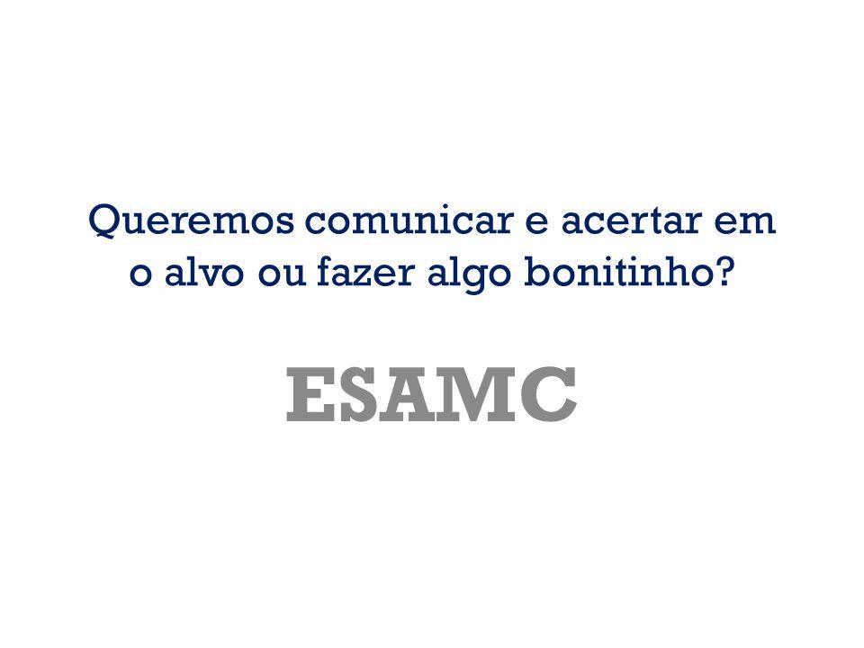 Queremos comunicar e acertar em o alvo ou fazer algo bonitinho? ESAMC