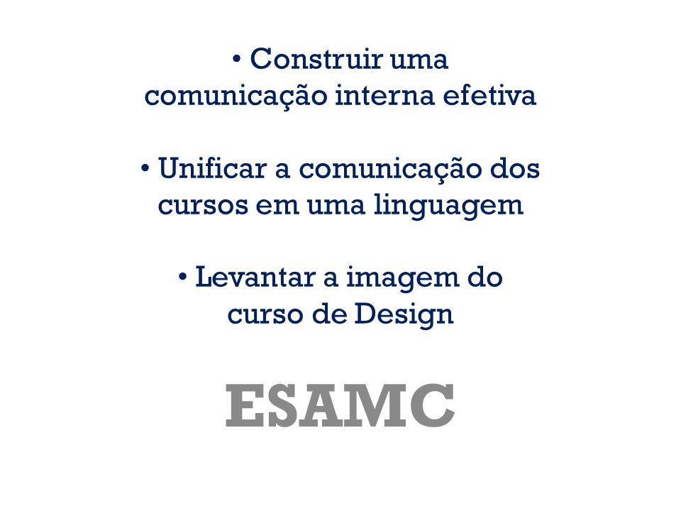Construir uma comunicação interna efetiva Unificar a comunicação dos cursos em uma linguagem Levantar a imagem do curso de Design ESAMC