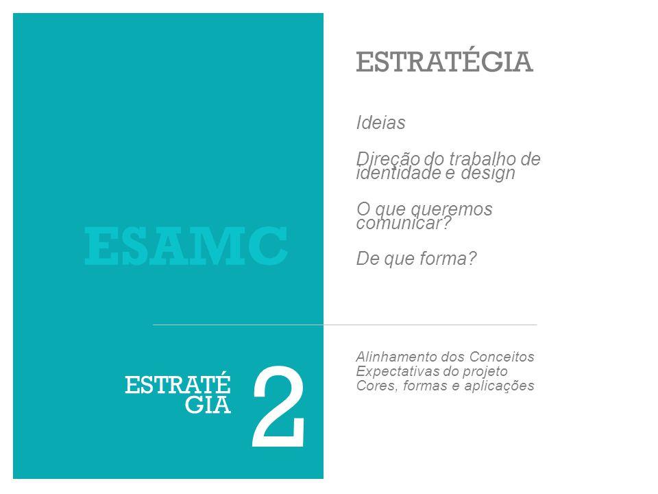 ESTRATÉGIA 2 ESAMC Ideias Direção do trabalho de identidade e design O que queremos comunicar? De que forma? Alinhamento dos Conceitos Expectativas do
