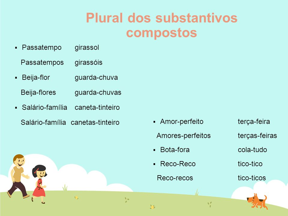 Plural dos substantivos compostos  Passatempo girassol Passatempos girassóis  Beija-flor guarda-chuva Beija-flores guarda-chuvas  Salário-família c