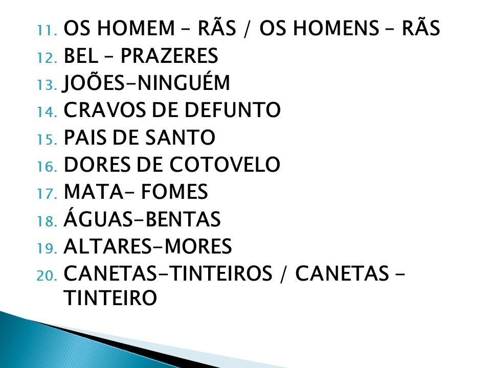 11.OS HOMEM – RÃS / OS HOMENS – RÃS 12. BEL – PRAZERES 13.