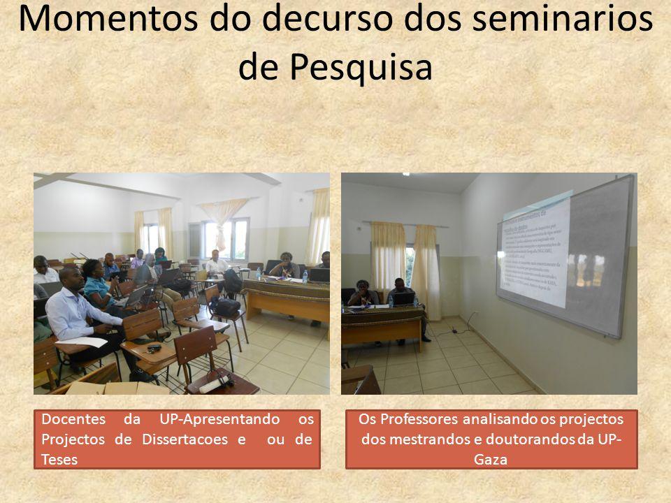 Momentos do decurso dos seminarios de Pesquisa Docentes da UP-Apresentando os Projectos de Dissertacoes e ou de Teses Os Professores analisando os pro