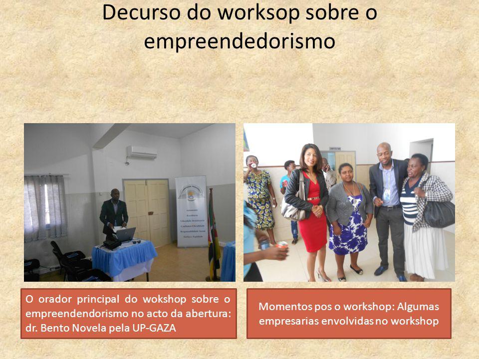 Decurso do worksop sobre o empreendedorismo O orador principal do wokshop sobre o empreendendorismo no acto da abertura: dr. Bento Novela pela UP-GAZA